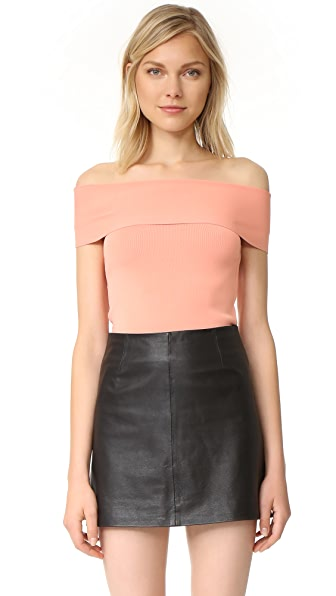 T by Alexander Wang Rib Knit Off Shoulder Top - Salmon