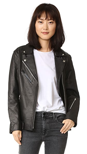 T by Alexander Wang Leather Oversized Motorcycle Jacket - Black
