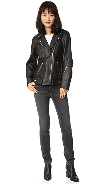 T by Alexander Wang Leather Oversized Motorcycle Jacket