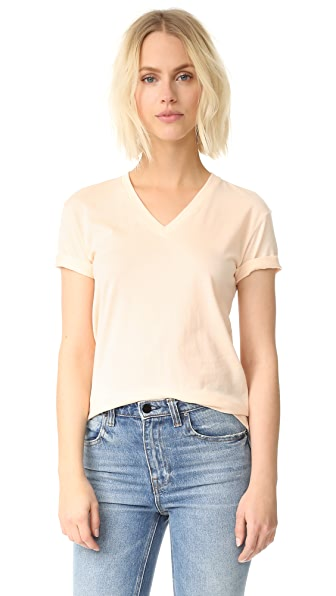 T by Alexander Wang Superfine Short Sleeve V Neck Tee