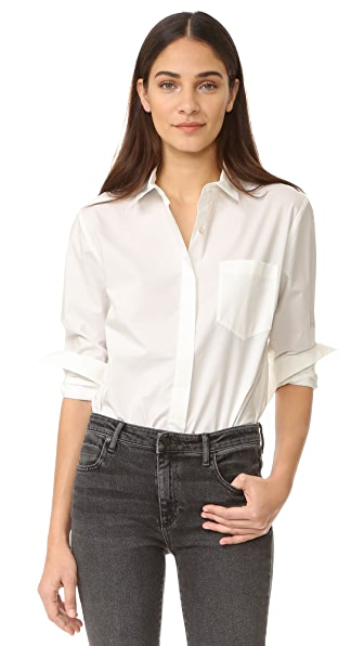 T by Alexander Wang Long Sleeve Button Down Bodysuit at Shopbop