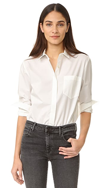 T by Alexander Wang Long Sleeve Button Down Bodysuit