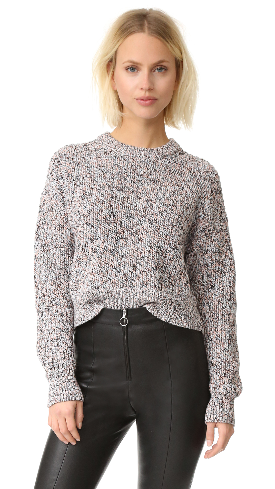 A chunky, marled T by Alexander Wang crop sweater with ribbed edges. Long sleeves. Fabric: Chunky knit. 100% cotton. Hand wash or dry clean. Imported, China. Measurements Length: 19in / 48cm, from shoulder Measurements from size S. Available