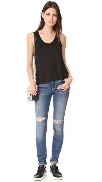 T BY ALEXANDER WANG CLASSIC CROPPED TANK WITH POCKET, BLACK