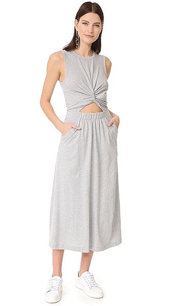 T by Alexander Wang Платье без рукавов с перекрученной отделкой спереди
