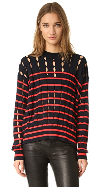 T by Alexander Wang Crew Neck Pullover with Slits - Navy & Lipstick