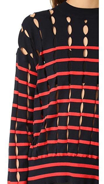 T by Alexander Wang Crew Neck Pullover with Slits