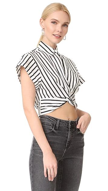 T by Alexander Wang Striped Twist Front Crop Shirt