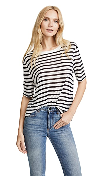 T by Alexander Wang Striped Cropped Tee In Ink And Ivory