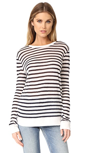 T by Alexander Wang Long Sleeve Crew Neck Tee In Ink And Ivory