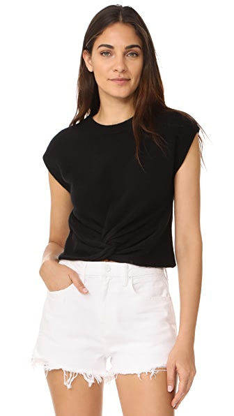 T by Alexander Wang Twist Front Sweater - Black