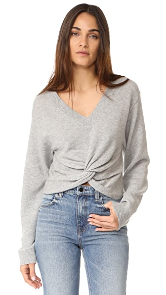 T by Alexander Wang Deep V Twist Front Sweater - Heather Grey