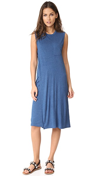 T by Alexander Wang Crew Neck Overlap Dress with Chest Pocket - Heather Ocean