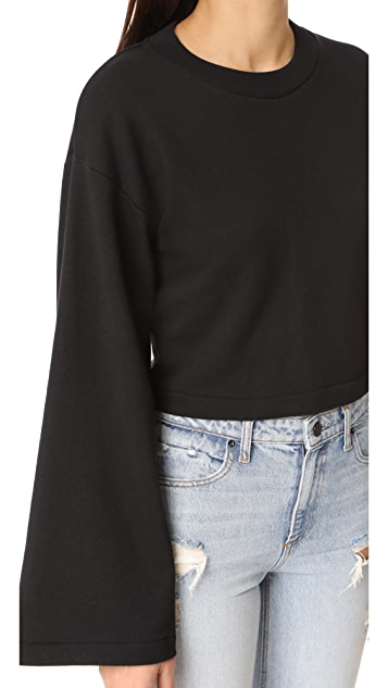 T by Alexander Wang Tie Back Crop Sweatshirt