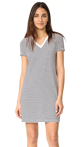T by Alexander Wang V Neck Dress - White with Navy Stripes