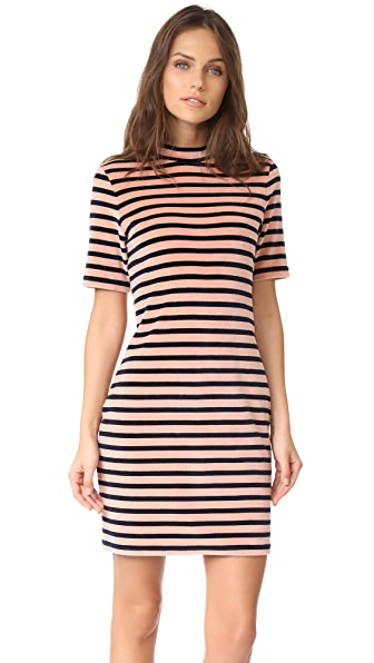 T by Alexander Wang Short Sleeve Mock Neck Dress