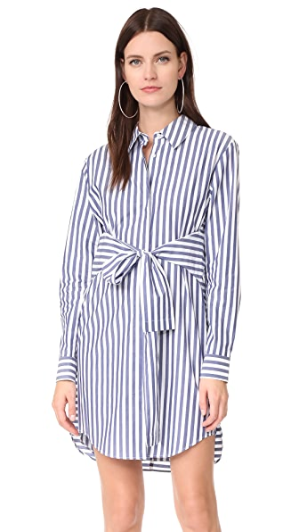 T by Alexander Wang Tie Front Collared Dress - White with Blue Stripe