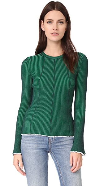 T by Alexander Wang Flared Sleeve Sweater - Navy with Emerald Combo