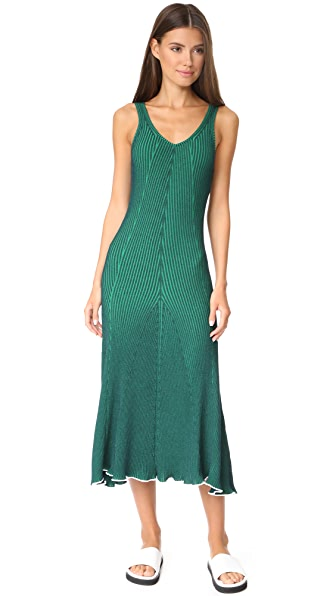 T by Alexander Wang Sleeveless Maxi Dress - Navy with Emerald Combo