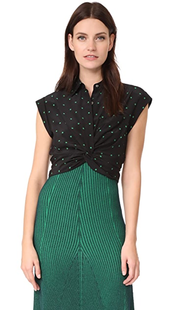 T by Alexander Wang Collared Knot Front Shirt