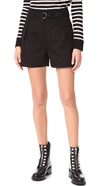T by Alexander Wang Paperbag Waist Shorts with Belt - Black