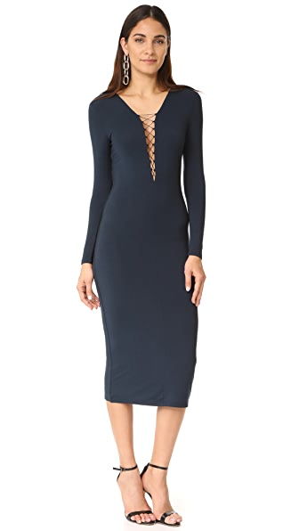 T by Alexander Wang Lace Up Dress In Navy