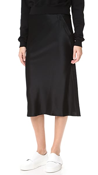 T by Alexander Wang Heavy Draped Satin Skirt