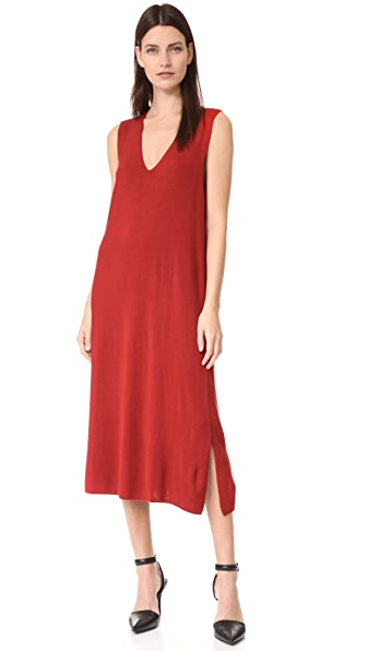 T by Alexander Wang Milano Knit Sleeveless V Neck Dress In Paprika