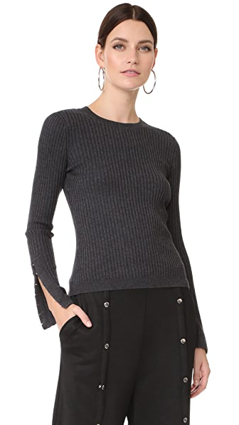 T by Alexander Wang Wide Rib Sweater with Hook & Eye Arm Detail In Charcoal