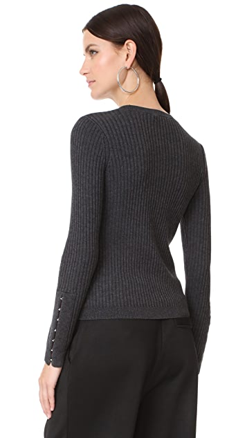 T by Alexander Wang Wide Rib Sweater with Hook & Eye Arm Detail
