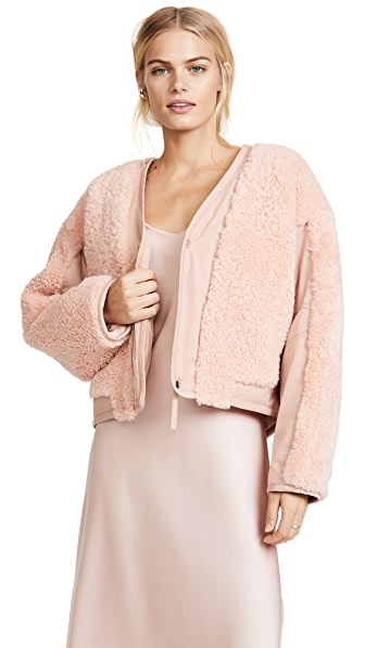 T by Alexander Wang Shearling Crop Jacket In Blush