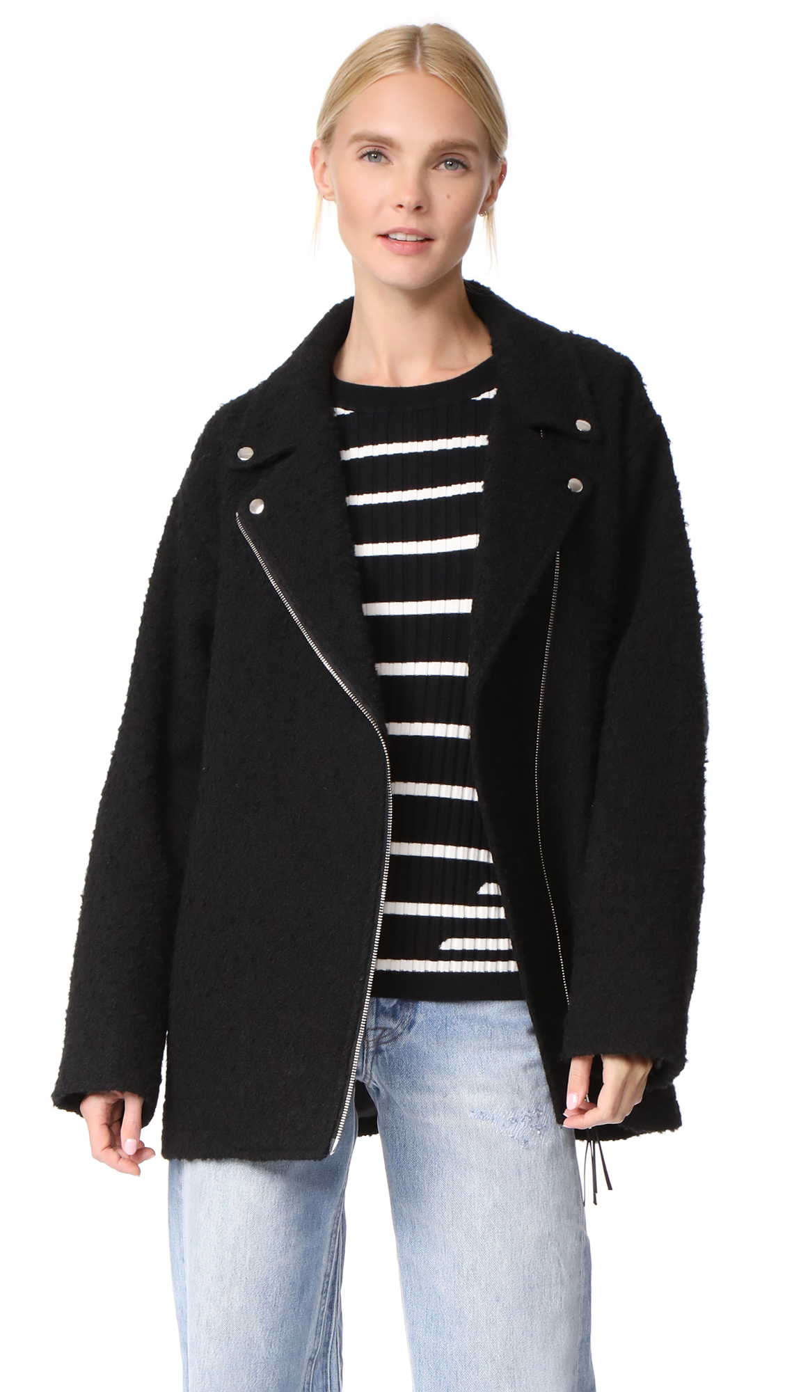T by Alexander Wang Asymmetrical Notch Collar Coat - Black