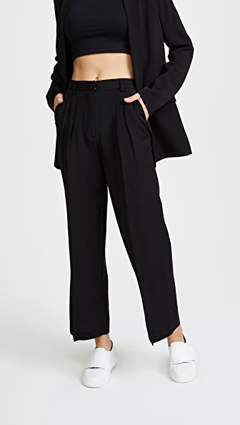 T by Alexander Wang Soft Suiting Cropped Wide Leg Pants