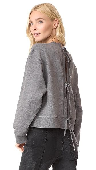 T by Alexander Wang Tie Back Sweatshirt In Heather Grey