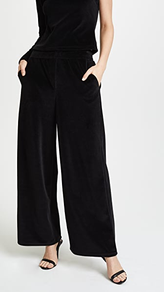 T by Alexander Wang Velour Wide Leg Pull On Pants