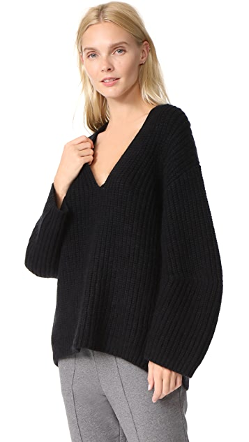 T by Alexander Wang Chunky V Neck Sweater