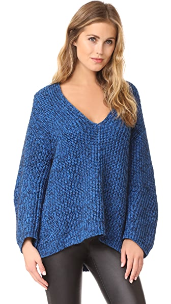 T by Alexander Wang Chunky V Neck Sweater In Azure/Black