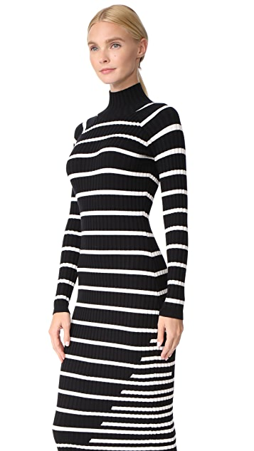 T by Alexander Wang Ribbed Intarsia Turtleneck Dress