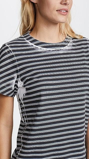 T by Alexander Wang High Twist Striped Short Sleeve Tee