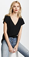 alexanderwang.t Superfine Jersey Deep V Drop Shoulder Tee