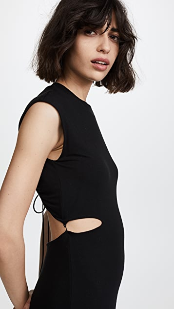 T by Alexander Wang Fitted Dress with Back Tie Detail