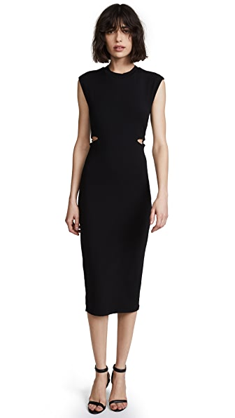 T by Alexander Wang Fitted Dress with Back Tie Detail In Black