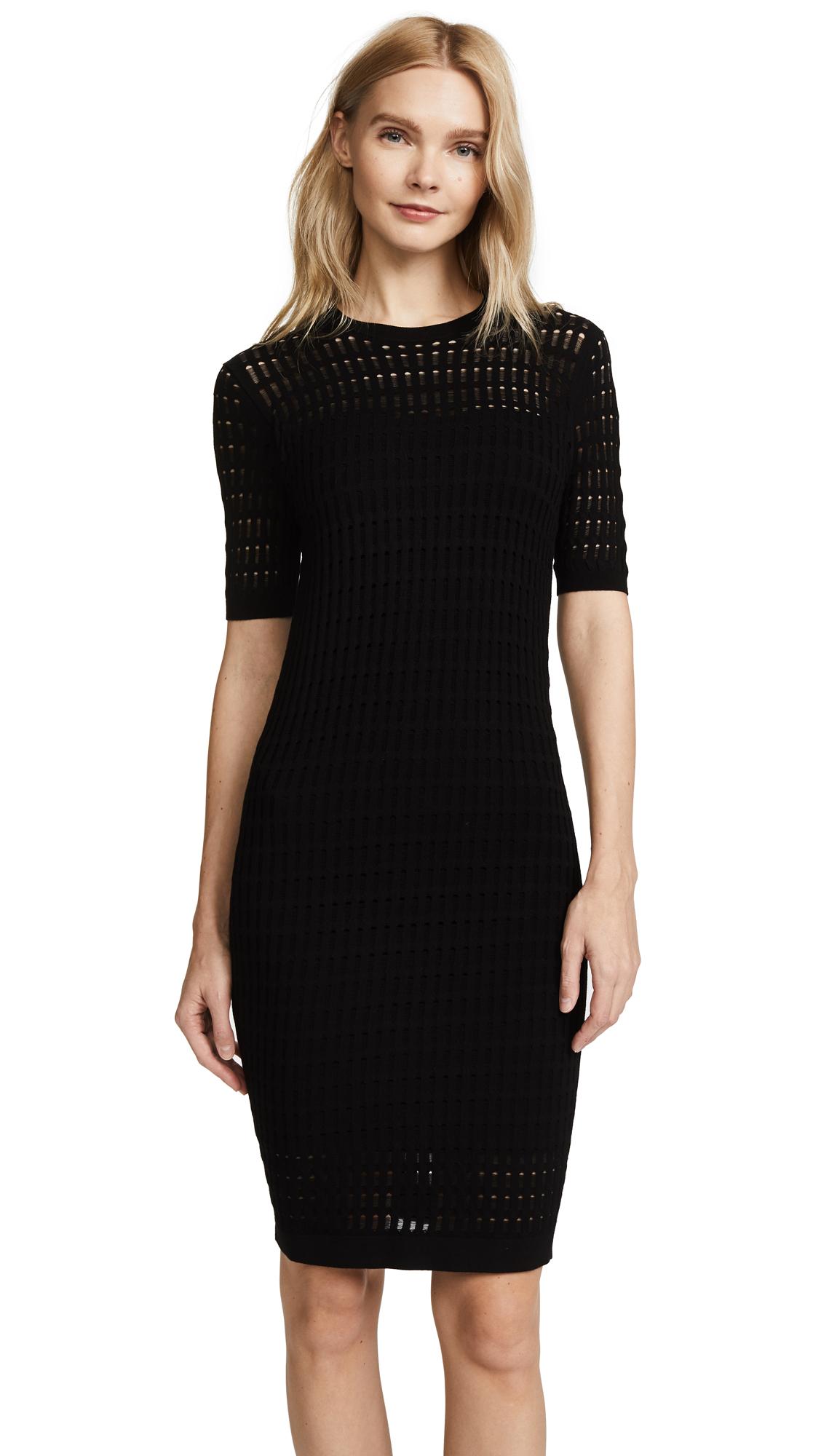 T by Alexander Wang Lace Short Sleeve Dress - Black