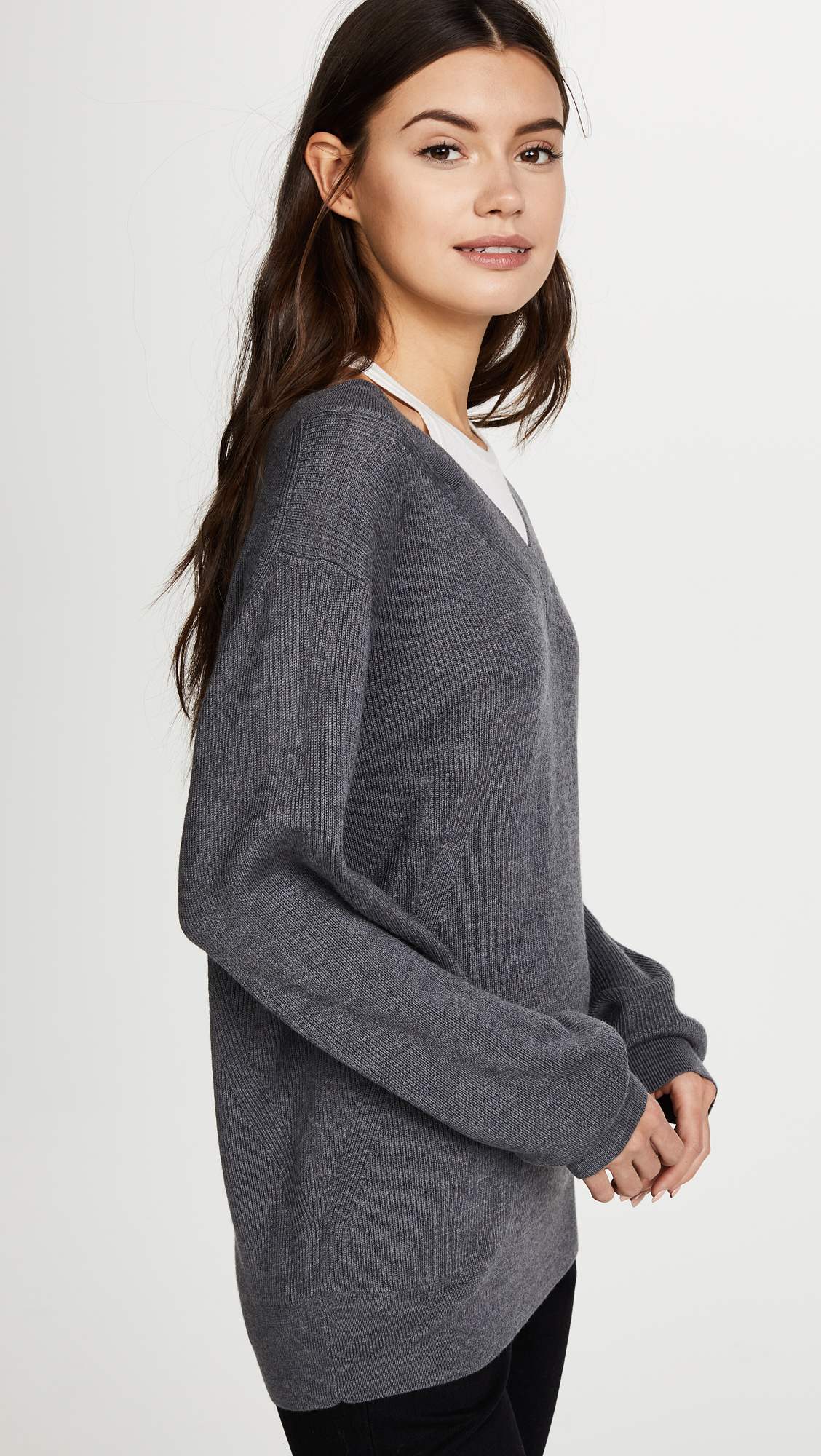 ceb240f33 alexanderwang.t Off the Shoulder Sweater with Inner Tank