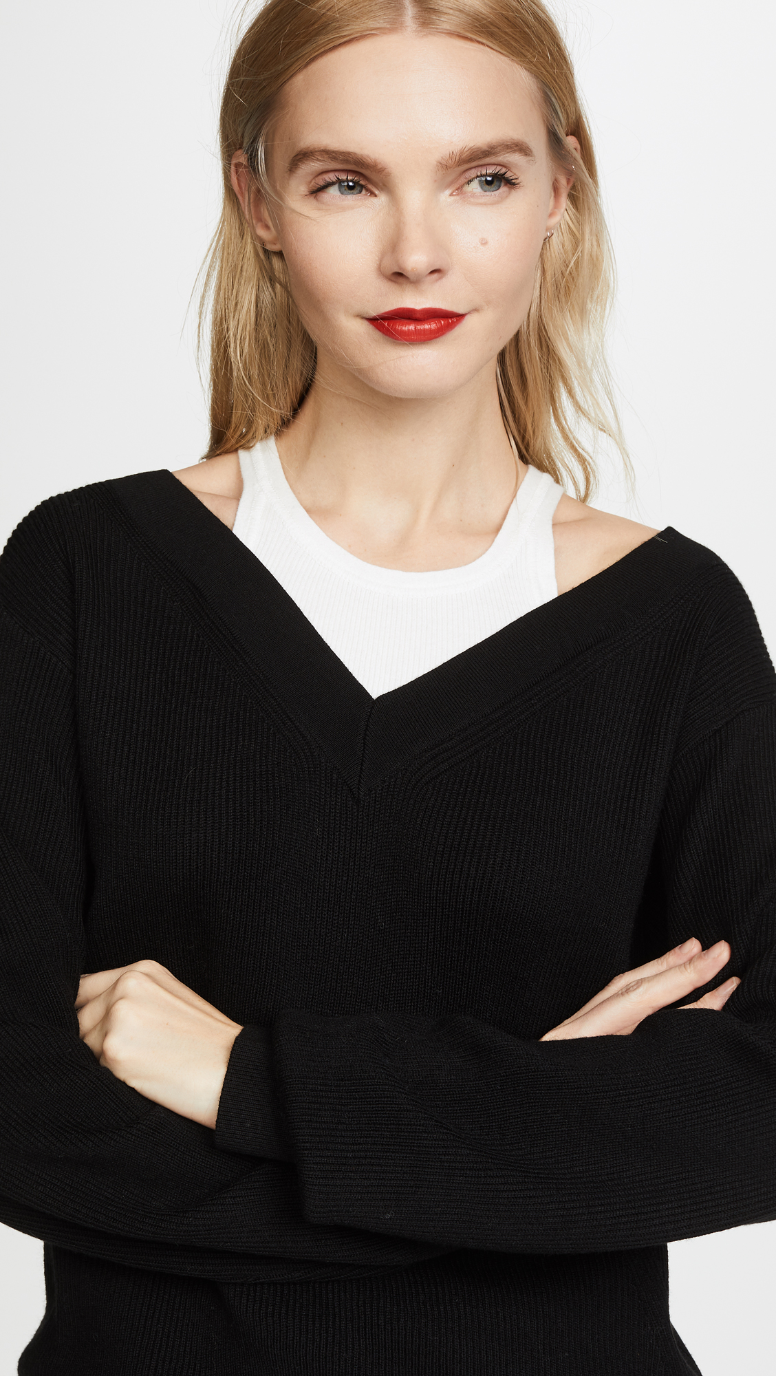 6df0b2023dc2 alexanderwang.t Off the Shoulder Sweater with Inner Tank