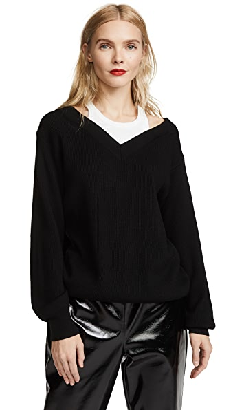 T by Alexander Wang Off the Shoulder Sweater with Inner Tank In Black With White Combo