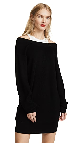T by Alexander Wang Knit Dress with Inner Tank In Black With White Combo