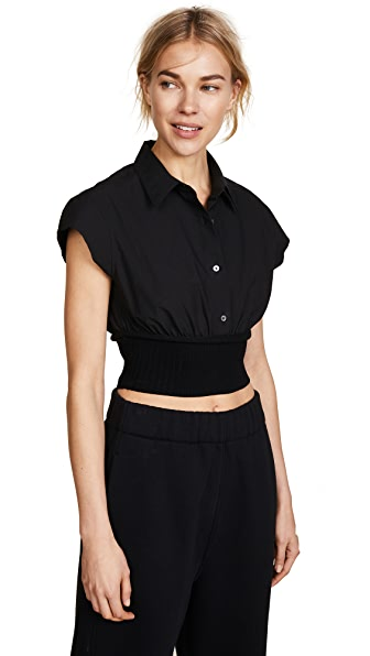 T by Alexander Wang Short Sleeve Button Down with Rib Detail In Black