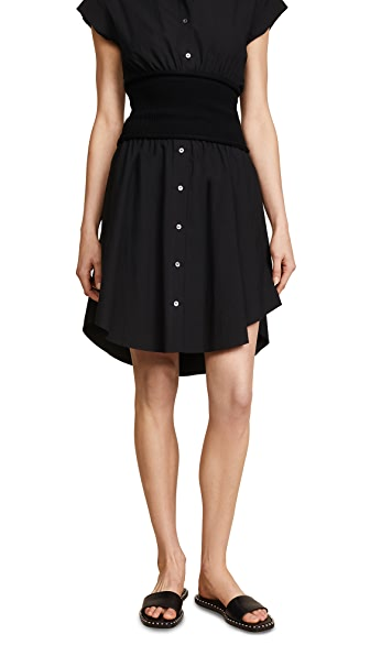 T by Alexander Wang Skirt with Rib Combo In Black