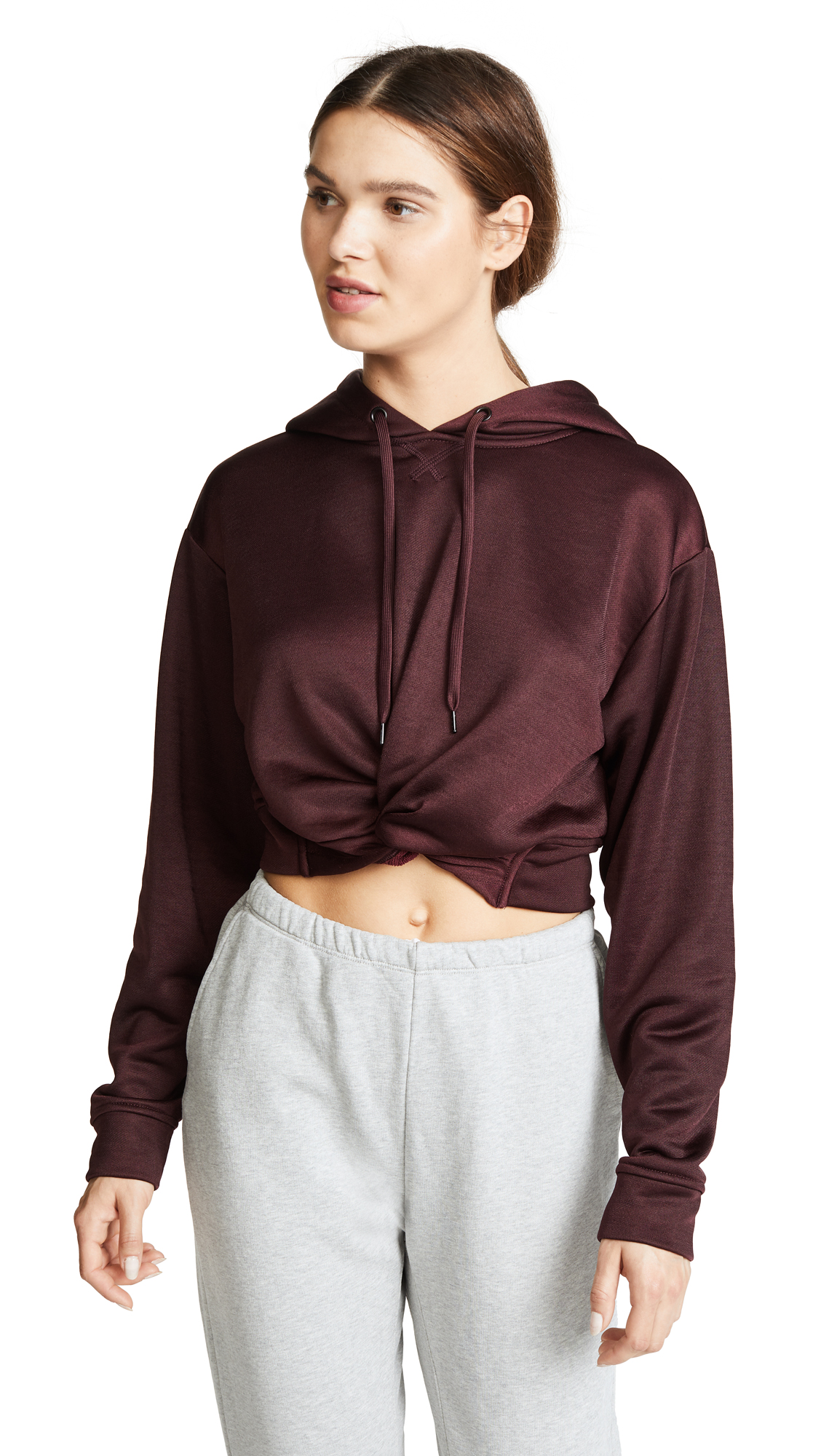 alexanderwang.t Sleek French Terry Twist Front Hoodie - Maroon